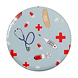 Nurse Doctor Pattern Healthcare Stethoscope Thermometer Pinback Button Pin