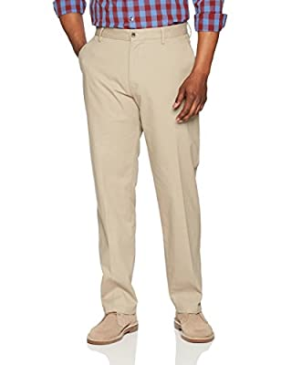 Amazon Essentials Men's Classic-Fit Wrinkle-Resistant Flat-Front Chino Pant, Khaki, 34W x 34L
