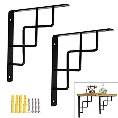 XHCP 2 Packs Heavy Duty Shelf Brackets,Triangle Shelving Brackets,Right Angle Wall Mounted Shelf Supporters,Space Saving,with Mounting Accessories,2 Colors(White300mmx300mm)