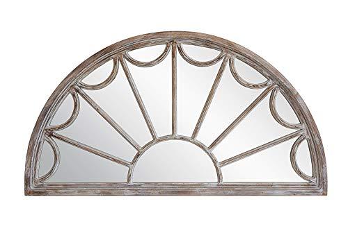 Creative Co-op Half Circle Decorative Wood Mirror, Grey