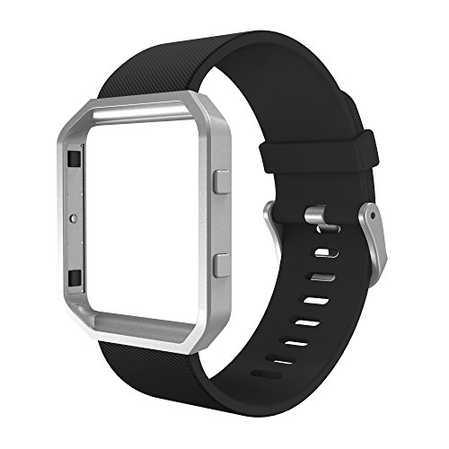 Simpeak Sport Band Compatible with Fitbit Blaze Smartwatch Sport Fitness, Silicone Wrist Band with Meatl Frame Replacement for Fitbit Blaze Men Women, Large, Black Band+Silver Frame