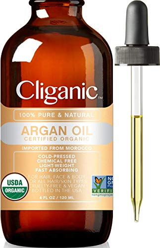 Cliganic USDA Organic Argan Oil, 100% Pure   for Hair, Face & Skin   Natural Cold Pressed Carrier Oil, Imported from Morocco