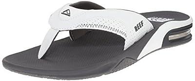 Reef Men's Sandals Fanning   Bottle Opener Flip Flops For Men, Grey/White, 10