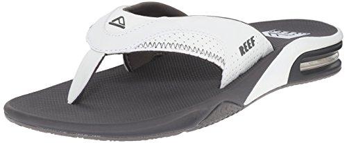 Reef Men's Sandals Fanning | Bottle Opener Flip Flops For Men, Grey/White, 10