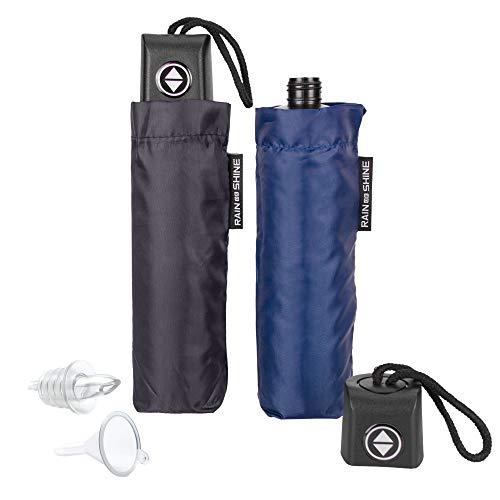 GoPong Rain or Shine Umbrella Flask 2 Pack - Hidden Alcohol Booze Bottles, Includes Funnel and Liquor Bottle Pour Spout