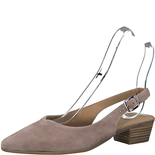 Tamaris Damen Pumps 29405-24, Frauen Sling-Pumps, Slingback Leder knöchelriemchen büro-Pumps Office bequem elegant,Taupe,38 EU / 5 UK