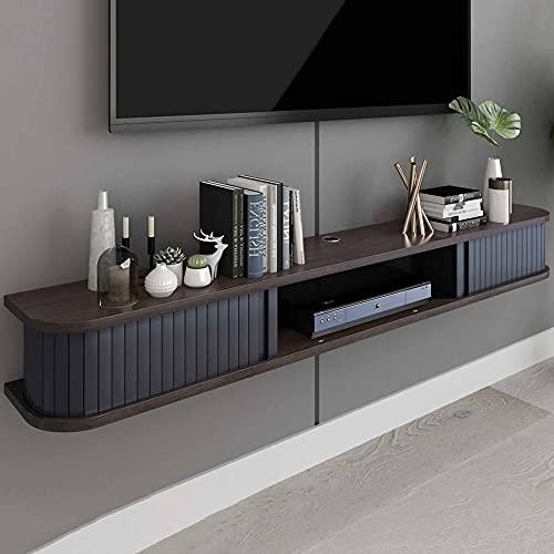 Mueble de TV Flotante, Mueble TV de Pared de Madera Maciza Mate, Consola de TV Colgante para Cajas de Cable Enrutadores Reproductores de DVD/B / 80cm
