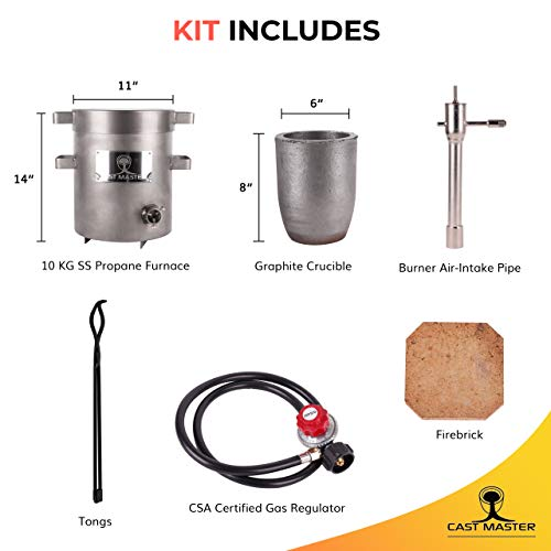 0-28LBS//12.8KGS Gas//Propane Metal Melting Furnace Kit with Crucible,Tongs Kiln Metal Recycle Melting Gold Silver Copper Brass etc,Light Duty Forge 2700F//1482℃,Stainless Steel Body