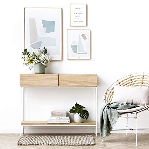 Kenay Home-Consola Mueble De Entrada Recibidor Natural Pata Blanca 2 Cajones Indo 100X25X81Cm (Wxdxh)