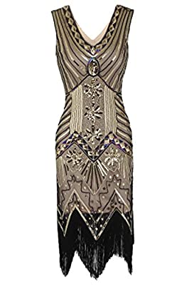 HOTLOOX Womens Fringe Sequin Strap Backless 1920s Flapper Party Mini Dress
