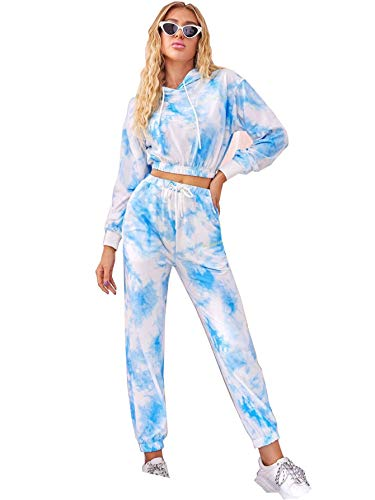 Damen Trainingsanzug Set Batik-Druck Langarm Hoodies Gym Yoga Loungewear Sweatshirt Jogginghose Sportbekleidung Gr. XX-Large, blau