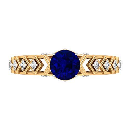 Anillo de compromiso creado en laboratorio de zafiro azul de 6 mm, anillo vintage solitario con piedras laterales, anillo de oro moissanita D-VSSI, 18K Oro amarillo, Size:EU 57