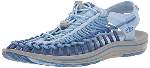 KEEN Women's Uneek Slipper, Powder Blue/Galaxy Blue, 9 M US