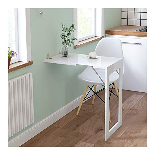 LWZ Escritorio de Pared Blanco, Mesa Plegable para Colgar en la Cocina para lavandería, Estudio, Dormitorio, baño, Oficina o balcón, se Puede Utilizar como Marco de Fotos