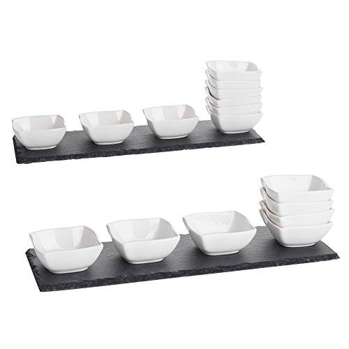 MALACASA, Serie Nature.Slate, 2X Schieferplatte mit 12x Mini Dessert Schälchen, 14er / Set für Snack Vorspeise Appetizer