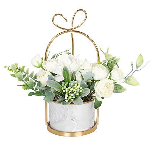Hobyhoon Flores artificiales de seda con jarrón falso hortensias y crisantemo arreglo floral para decoración del hogar, boda, centro de mesa, sala de estar, escritorio
