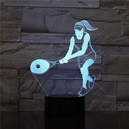 Tenis Mujer Raqueta Mesita de noche Nochevieja 3D LED USB Lámpara de mesa regalo de cumpleaños para niños decoración de la habitación