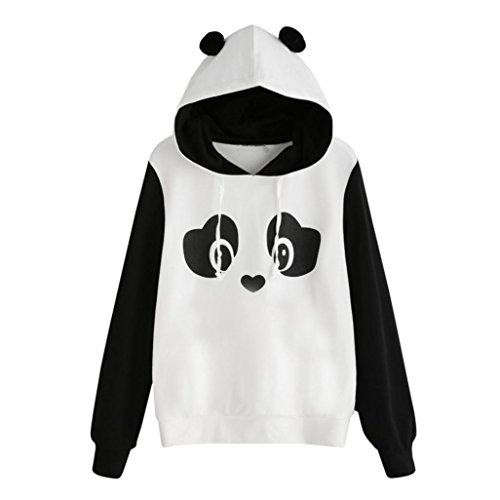 Lenfesh Impresión Panda Suéter con Capucha Mangas largas-Animal Print Kawaii Sweatshirts Camiseta Suéter Casual Mujer Primavera 2018 (S, Blanco)