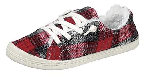 Forever Link Damen Classic Slip-On Comfort Fashion Sneaker, Rot (Plaid mit Fell), 40 EU
