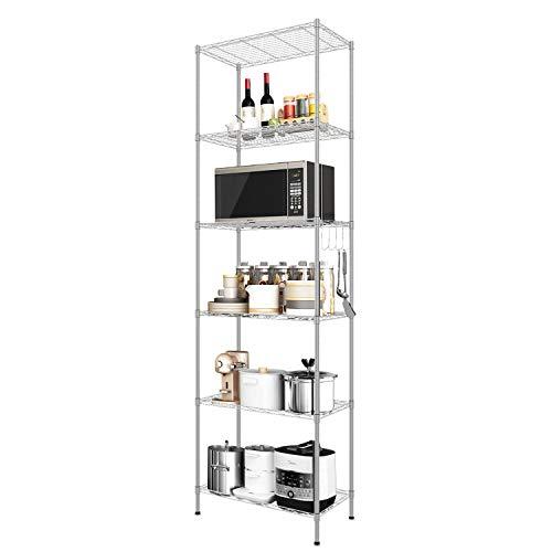 Devo Estantería de 6 niveles, de metal, de alambre, independiente, para cocina, garaje, baño, 56 x 31 x 160 cm, color plateado