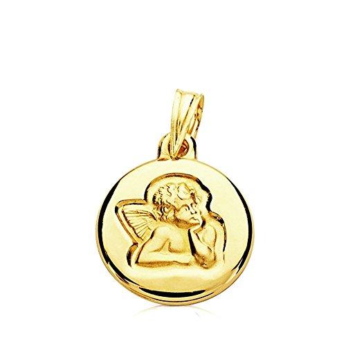 Médaille pendentif 14mm lumière 9k or. bébé ange moqueuses rond et lisse - personnalisable - ENREGISTREMENT INCLUS DANS LE PRIX
