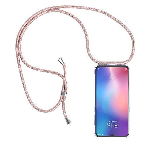 YuhooTech Funda con Cuerda para Xiaomi Redmi 5 Plus, [Moda y Practico] [ Anti-Choque] [Anti-rasguños] Suave Silicona Transparente TPU Carcasa de movil con Colgante/Cadena, Oro Rosa
