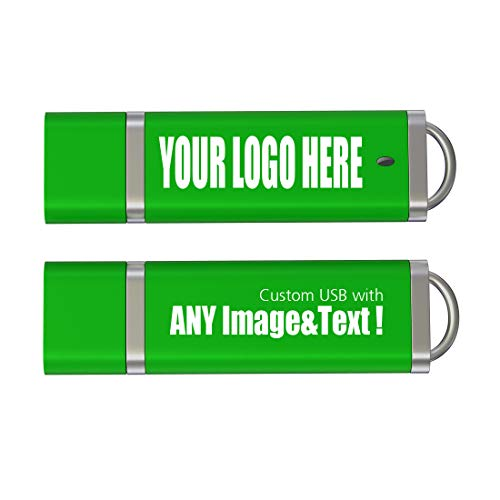 Memoria USB Personalizada 32GB con tu Logo, Texto Pendrive Publicidad Promocional, Piezas 300 Verde