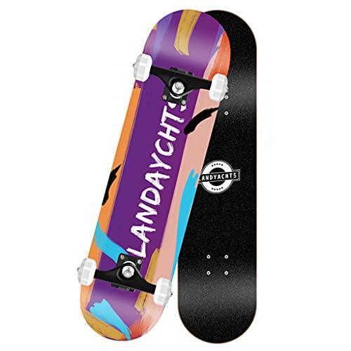 qiaoliang 31'× 8' Skateboard Monopatín Estándar Completo para Principiantes Starter Boys and Girls, 7 Capas Maple Deck Doble Kick Trucos De 4 Ruedas Skate Board