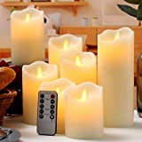 qinxiang Flameless Candles LED Candles Set of 7 (D:3' X H:4' 4' 5' 5' 6' 7' 8') Ivory Real Wax Pillar Battery Operated Candles with Dancing LED Flame 10-Key Remote and Cycling 24 Hours Timer
