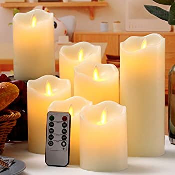 qinxiang Flameless Candles LED Candles Set of 7  D 3  X H 4  4  5  5  6  7  8   Ivory Real Wax Pillar Battery Operated Candles with Dancing LED Flame 10-Key Remote and Cycling 24 Hours Timer