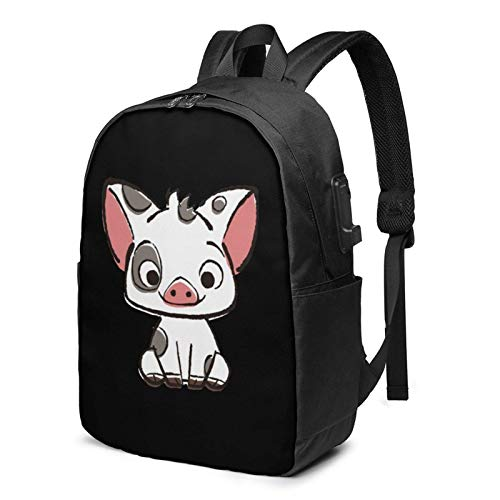 Richard Moana Pua The Pot Bellied Pig Busin Laptop School Bookbag Travel Bapack with USB Charging Port & Headphone Port Fit 17 in