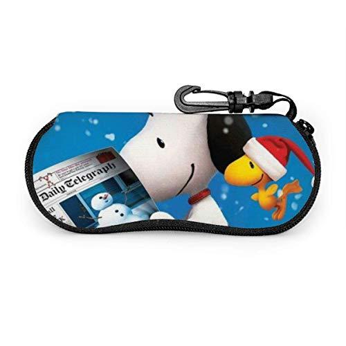 Estuche para anteojos Estuche para gafas de sol Snoopy Woodstock de dibujos animados Estuche para anteojos con cremallera de neopreno ultra suave y ligero con clip para cinturón