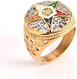 Dungkey 2018 Newest 316l Stainless Steel Gold & Silver OES Order of The Eastern Star Rings for Men Women Masonic Freemason Female Rings (10)
