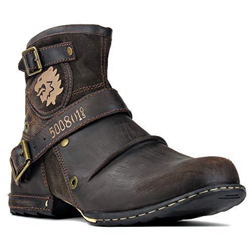 OSSTONE Botas para Moto Botines Hombre de Invierno Piel Zapatos Negras Vestir Nieve Piel Forradas Calientes Planas Combate Militares Cremallera Boots OS-5008-1-D-8