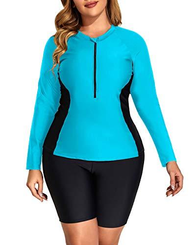 DaciWomenBluePlus Size Long Sleeve Rash Guard Zip Front Athletic Tankini 2 Piece SwimsuitsUPF 50 20 Plus