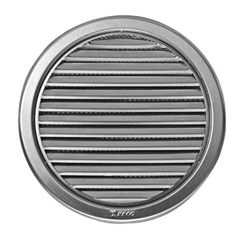 Edelstahl Lüftungsgitter - Abluftgitter - rund - mit Flansch/Rohranschluß und Insektenschutz: Deckmaß:180 mm (VM-150-N)