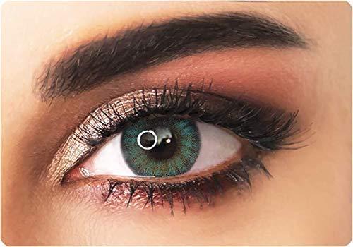 ADORE Lentilles de contact de couleur souples VERT – BI GREEN - sans correction - 3 mois - effet NATUREL + étui à lentilles INCLUS