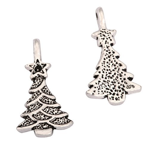 20 x Christmas Tree Charms 15x11mm Antique Silver Tone | One Sided Charm Pendants for Gemstone Necklace Bracelet Earrings Keychain Mala Yoga Jewelry Craft Making MCZ1102