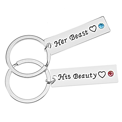 Micro Traders 2pcs Couples Keychain Ring Keyrings Set His Beauty and Her Beast Inch Lovers Boyfriend Girlfriend Valentine's Day