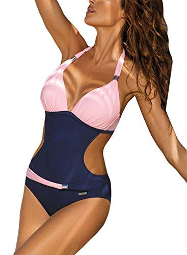 Aleumdr Damen Monokini Push-up Tankini Bauchweg Bademode Strandmode Reizvolle Schwimmanzug Einteiliger Rückenfrei Bikini Badeanzüge Pink XL