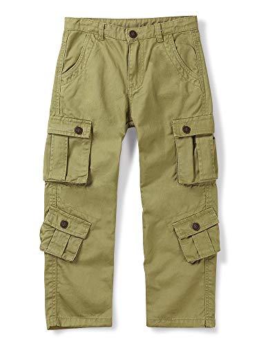 Aeslech Pantalones cargo para niños, 8 bolsillos, pantalones de senderismo informales para viajes al aire libre
