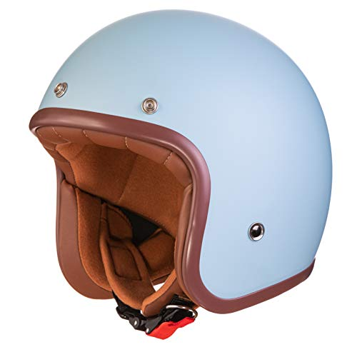 ORIGINAL Fräulein Irmi Retro Vespa-Helm, Jet-Helm mit Sonnen-Visier, Roller-Helm für Frauen und Herren im edlen Vintage-Look, Qualität nach ECE-Norm, hellblau matt