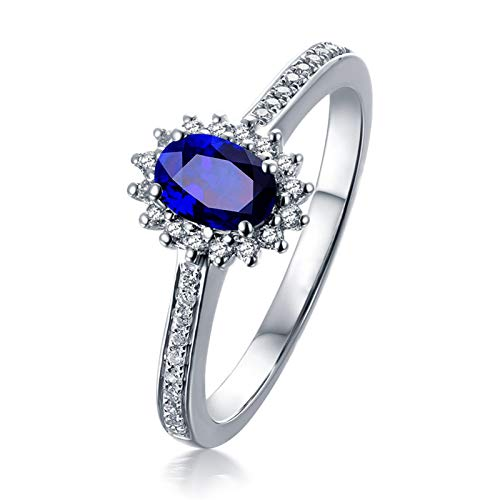 AueDsa Ring Blue Silver Engagement Rings for Women 18K White Gold Diamond Sunflower Ring with Topaz 2ct Ring Size O 1/2