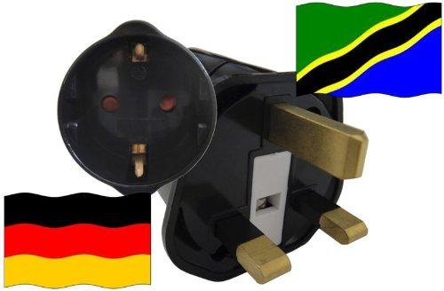 Urlaubs Reiseadapter Tansania für Geräte aus Deutschland Kindersicherung und Schutzkontakt 250V