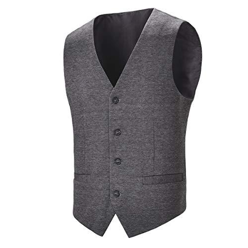 BOTVELA Mens Casual Dress Vest 4 Button Waistcoat (Grey, M)