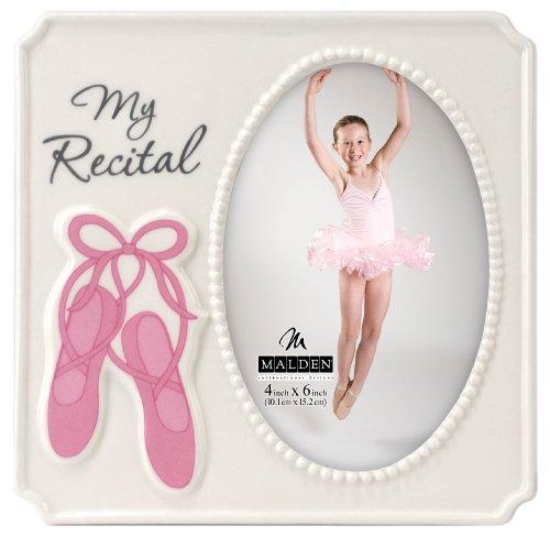 Malden International Designs Glazed Ceramic White With Pink Accents My Recital Picture Frame, 4x6, White