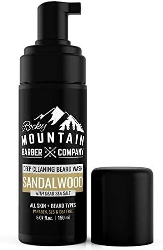 Beard Shampoo Wash Vitamin B5 Dead Sea Salt with Sandalwood Scent Foaming Formula for All Beard product image