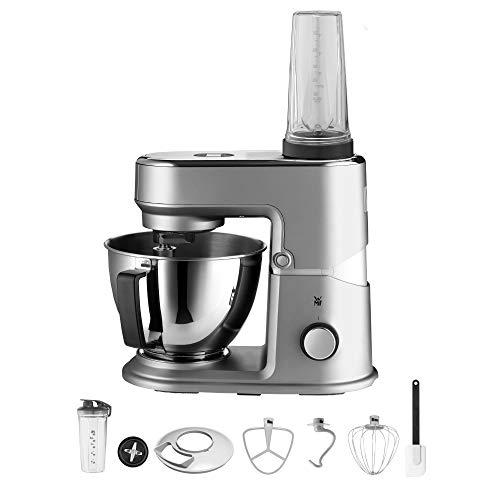 WMF Keukenminis Edition mini-keukenmachine, ruimtebesparend, mixer voor smoothies, 3 l kom, soft-start, planeten-mixer, 8-traps kneedmachine, 3 roergereedschappen, 430 W, mat roestvrij staal grijs