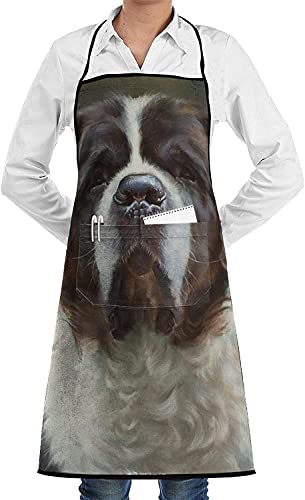 Charm Ugly Saint Bernard Dog Aprons for Women and Men, Kitchen Chef Apron with 2 Pockets