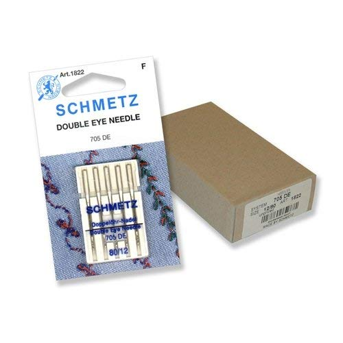 Schmetz Double-Eye Topstitch Sewing Machine Needles System 130/705 Size 80/12